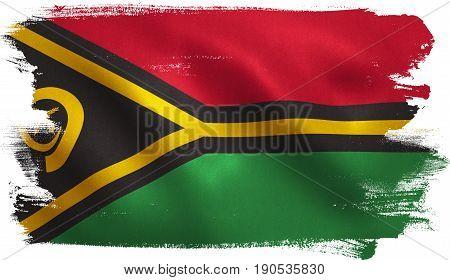 Vanuatu flag with fabric texture. 3D illustration.