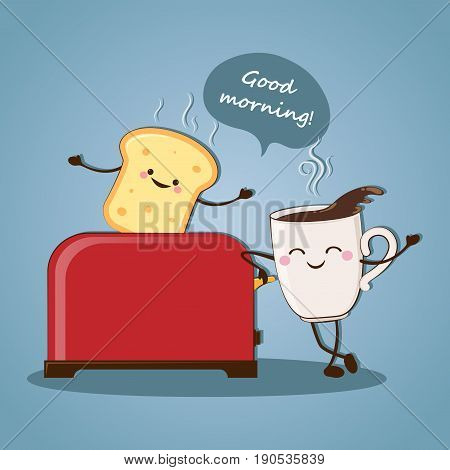 Morning breakfast. Good morning! Morning coffee. Vector illustration.