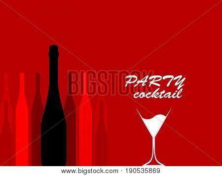 Design for cocktail party.Wine list.Vector set of bottles for alcohol.Glasses for alcoholic drinks.Bottle background.