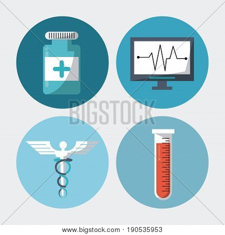 color background with round frames with medical elements pills test tube caduceus symbol and pulse monitor vector illustration