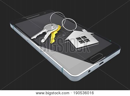 Mobile app template. Real estate booking app on smartphone screen. isoalted black. 3d Illustration