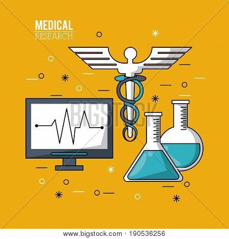 color poster medical research with pulse monitor and caduceus symbol and test tubes vector illustration