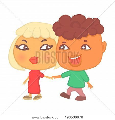 Cute cartoon style hipster couple in love on a date walking hand in hand talking flirting and laughing. Boy and girl together two big head characters in romantic pose isolated on white background.