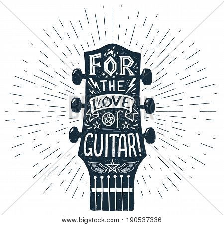 Vector hand drawn guitar fretboard silhouette with lettering inside: For the Love of Guitar