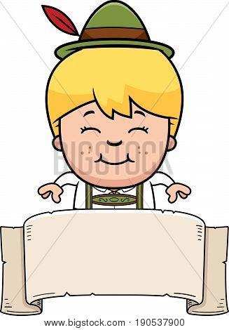 Cartoon Lederhosen Boy Banner