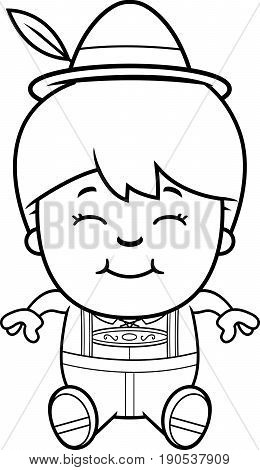 Cartoon Lederhosen Boy Sit