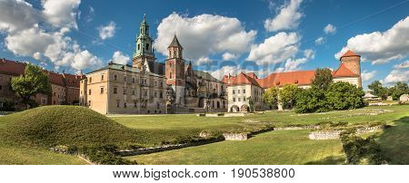 panorama of Wawel cathedral on Wawel Hill in Krakow, Poland, summertime