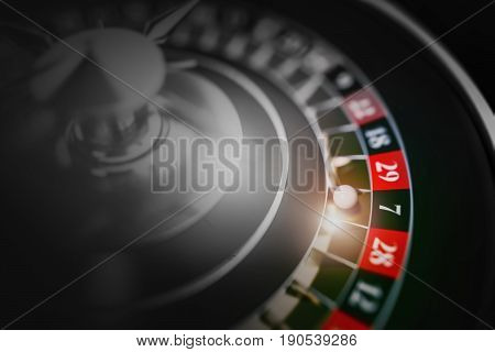 Black Roulette Game Closeup 3D Render Illustration. Roulette Casino Gambling.