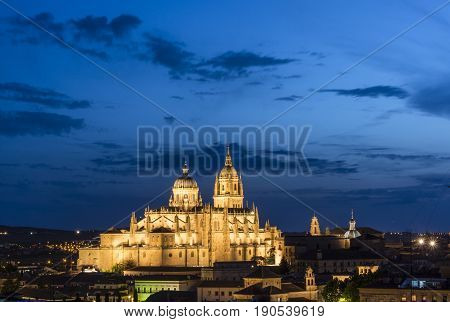 Night view of Salamanca cityscape with the Cathedral fully iluminated. The Old city of Salamanca is declared by UNESCO a World Heritage Site.