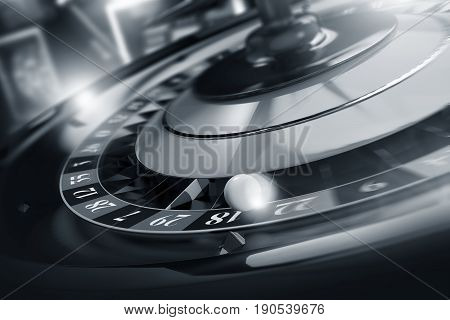 Casino Roulette Spin. 3D Rendered Roulette Wheel Game Spinning Concept. Duo Tone Colors.