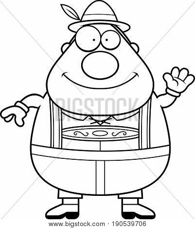 Cartoon Lederhosen Man Waving