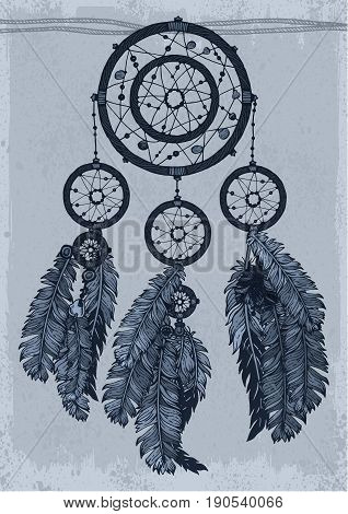 Dream catcher in shades of gray. Monochrome drawing.