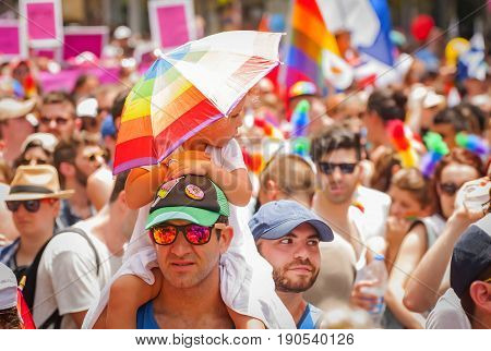 TEL AVIV, ISRAEL. June 9, 2017. Unknown participants of the Tel Aviv Gay Pride parade 2017.