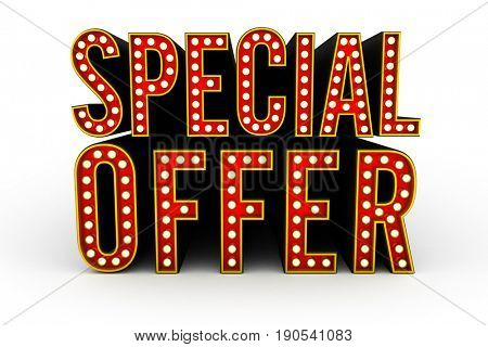Typical theater style 3D letters spelling the term Special Offer
