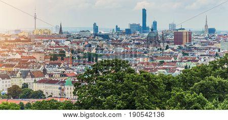Vienna Cityscape Panorama. Vienna Austria. Summer Panoramic Photo.