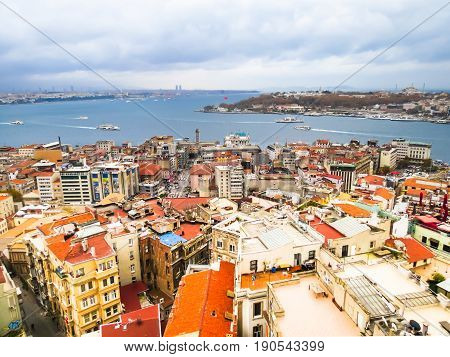 ISTANBUL, TURKEY - NOVEMBER 15, 2013: Aerial view of Istanbul city and Golden Horn Bay. Istanbul, Turkey