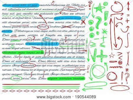 VECTOR set of hand drawn doodle icons. Elements for text correction. Green, blue and red colors.