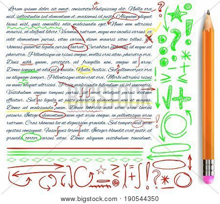 VECTOR set of hand drawn doodle icons and realistic pencil. Elements for text correction. Green, yellow and red colors.