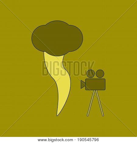 flat icon on stylish background tornado camera