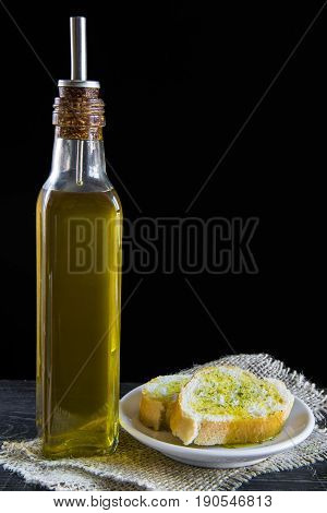 Extra Virgin Olive Oil And Bread Slices