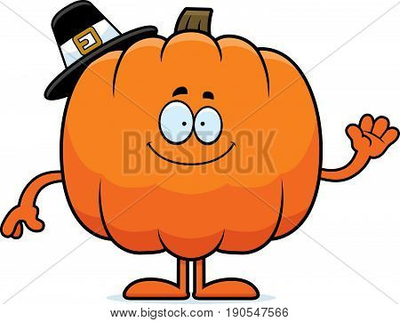 Cartoon Pumpkin Pilgrim Waving