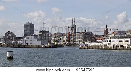 View of the port of Oostende from the east port