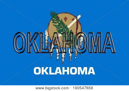 Illustration of the flag of Oklahoma state in America with the state written on the flag.