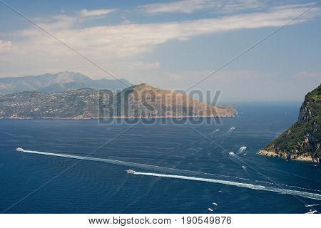 Salerno Gulf on the Tyrrhenian Sea, Amalfi Coast, Campania region in Italy