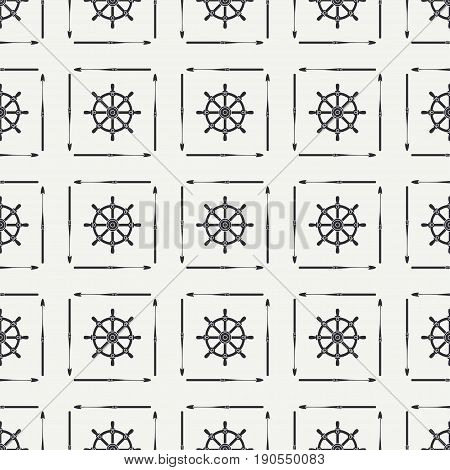 Abstract nautical seamless background pattern with steering wheel and harpoon. Vector illustration texture for design, wallpaper.