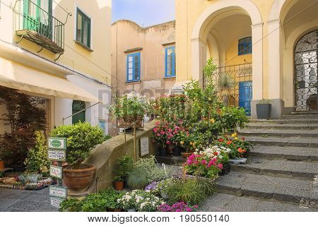 CAPRI, ITALY - MAY 21, 2017: picturesque place at the Capri, Gulf of Naples in Southern Italy
