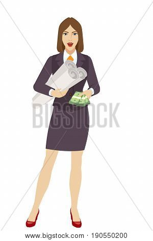Businesswoman with cash money holding the project plans. Full length portrait of businesswoman character in a flat style. Vector illustration.