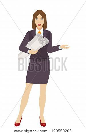 Businesswoman holding the project plans and gesturing. Full length portrait of businesswoman character in a flat style. Vector illustration.