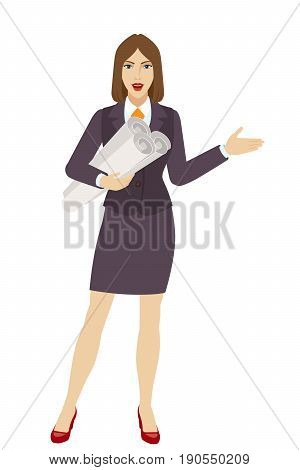 Businesswoman holding the project plans showing something beside of her. Full length portrait of businesswoman character in a flat style. Vector illustration.