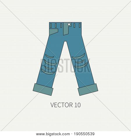 Line flat color vector icon wear - ripped jeans. Punk rock style. Illustration texture for design, wallpaper.