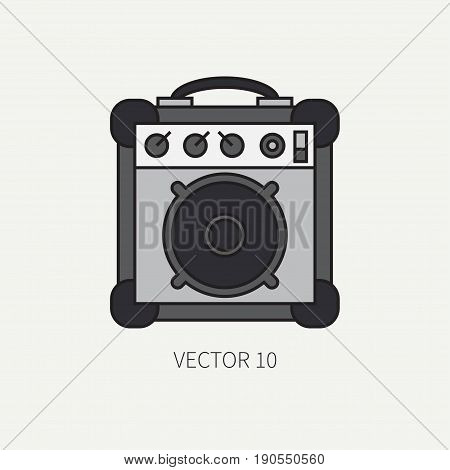 Line flat color vector icon musical equipment - guitar amplifier. Punk rock style. Illustration texture for design, wallpaper.
