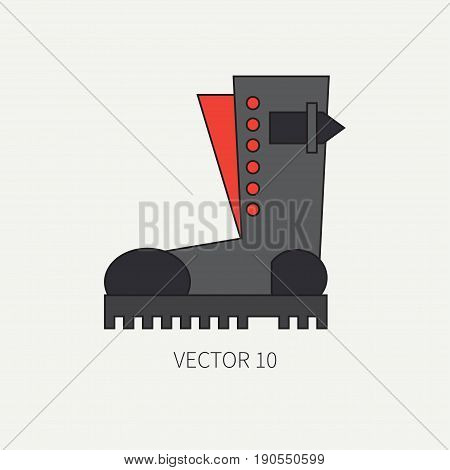Line flat color vector icon wear - ankle boots. Punk rock style. Illustration texture for design, wallpaper.
