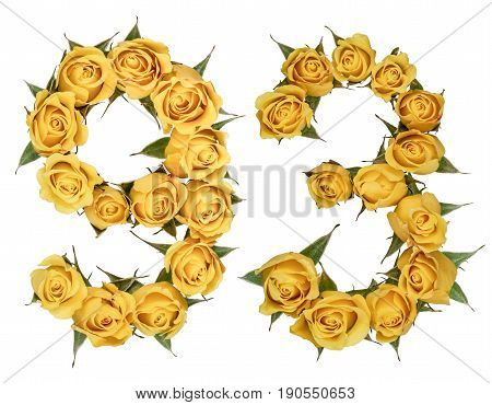 Arabic Numeral 93, Ninety Three, From Yellow Flowers Of Rose, Isolated On White Background