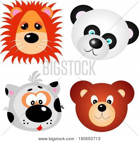 Set of bright and colorful animal faces. Great for stickers, decals cards, labels and tags. Includes cat, bear, panda, lion. Vector