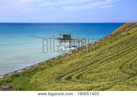 Trabocchi on the Adriatic Sea in Vasto Italy