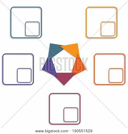 Colour triangles modern infographic template for with 5 steps.
