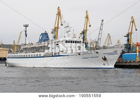 Murmansk, Russia - May 25, 2010: The motor ship Klavdia Yelanskaya is at the pier in the port of Murmansk
