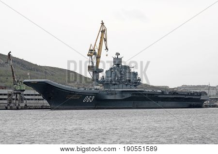 Murmansk, Russia - May 25, 2010: Heavy aircraft-carrying cruiser