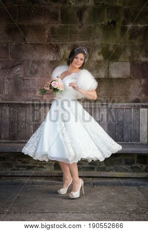 Lady Swooshes Her Vintage Retro Wedding Gown