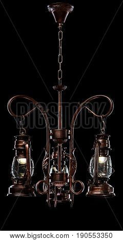 antique bronze iron-shod chandelier isolated on black background. Large chandelier for the living room interior