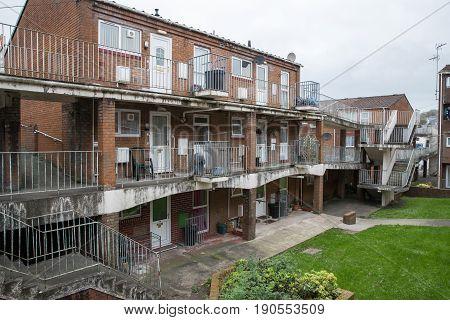 Brick built block of flats cheap housing in Carmarthen Wales United Kingdom