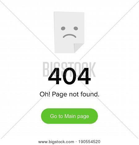 Error 404 layout. Template with sad smile for web site design