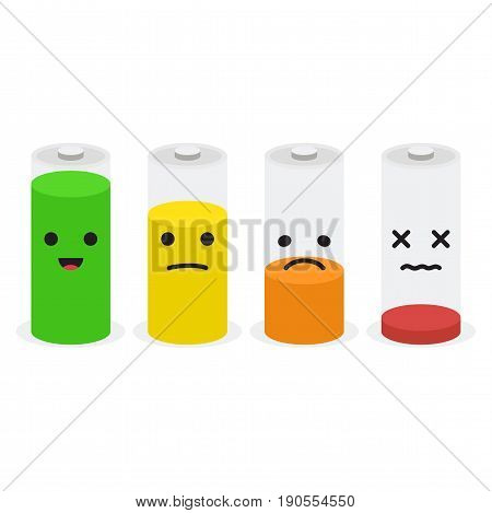 Battery icon set with emoji faces. Vector illustration collection