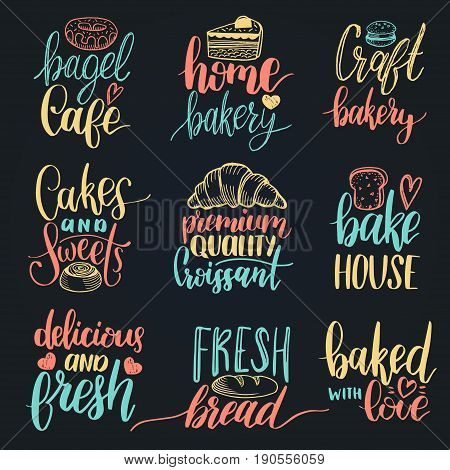 Vector set of vintage bakery hand lettering. Modern calligraphy collection with cookie Illustrations for print and web projects, posters, logotypes, products packaging. Pastry shop background.