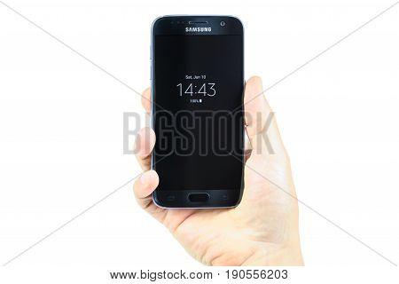 Krynica Poland - June 10 2017: Presentation of new model Samsung Galaxy S7 Black 32GB from Samsung Electronics Inc.