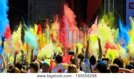 Kiev Ukraine- June4.2017:Color Holi.In the center of the old town.